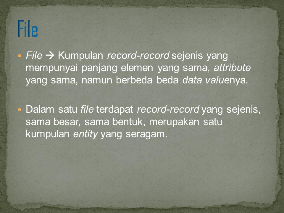 File File  Kumpulan record-record sejenis yang mempunyai panjang elemen yang sama, attribute yang sama, namun berbeda beda data valuenya.