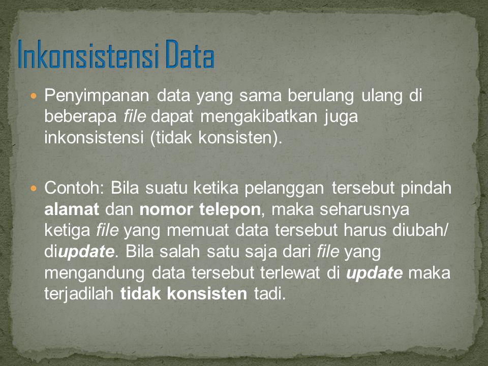 Inkonsistensi Data Penyimpanan data yang sama berulang ulang di beberapa file dapat mengakibatkan juga inkonsistensi (tidak konsisten).