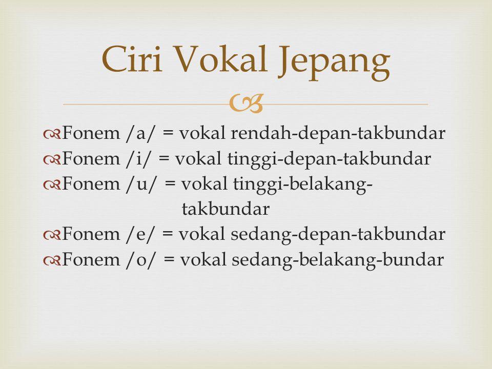 Ciri Vokal Jepang Fonem /a/ = vokal rendah-depan-takbundar