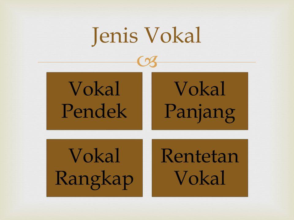 Jenis Vokal Vokal Pendek Vokal Panjang Vokal Rangkap Rentetan Vokal