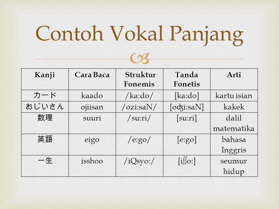 Contoh Vokal Panjang Kanji Cara Baca Struktur Fonemis Tanda Fonetis