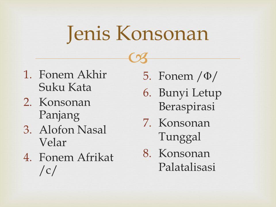 Jenis Konsonan Fonem Akhir Suku Kata Konsonan Panjang