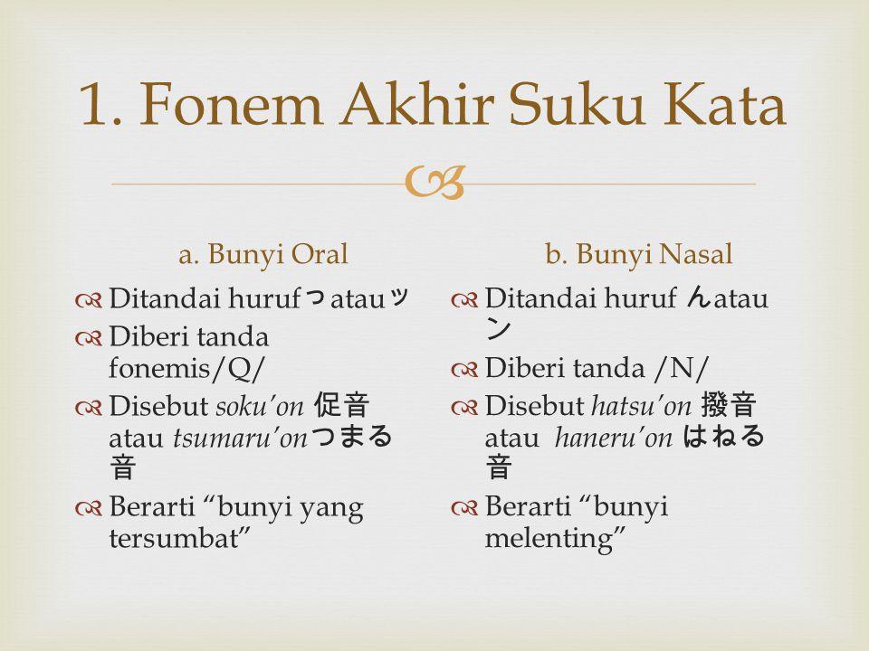 1. Fonem Akhir Suku Kata a. Bunyi Oral b. Bunyi Nasal
