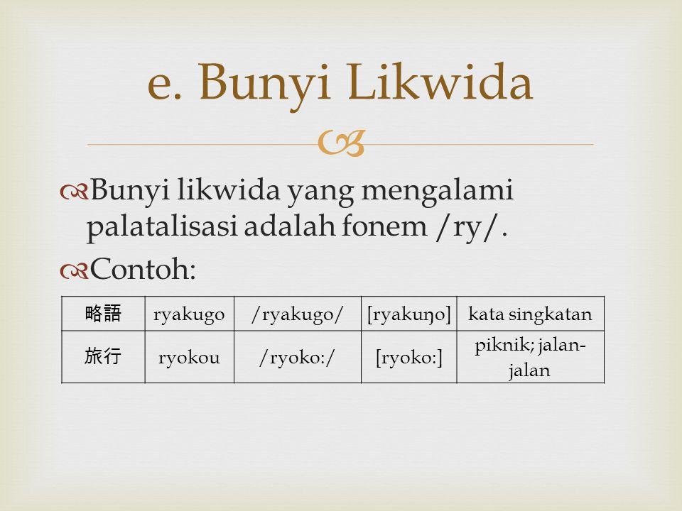 e. Bunyi Likwida Bunyi likwida yang mengalami palatalisasi adalah fonem /ry/. Contoh: 略語. ryakugo.