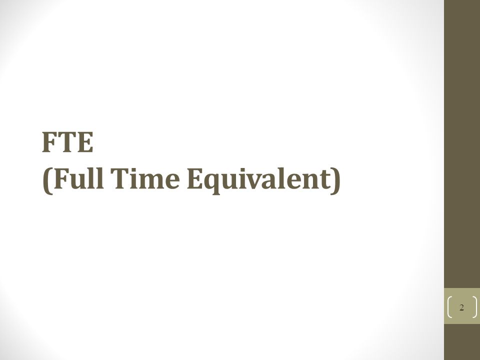 FTE (Full Time Equivalent)