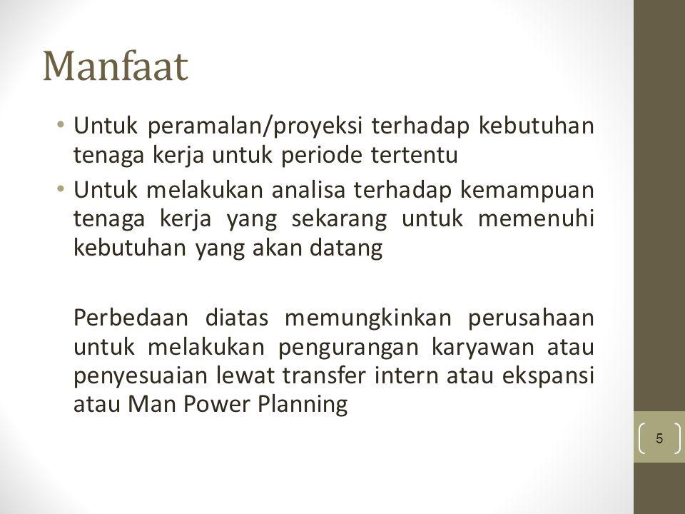 Manfaat Untuk peramalan/proyeksi terhadap kebutuhan tenaga kerja untuk periode tertentu.