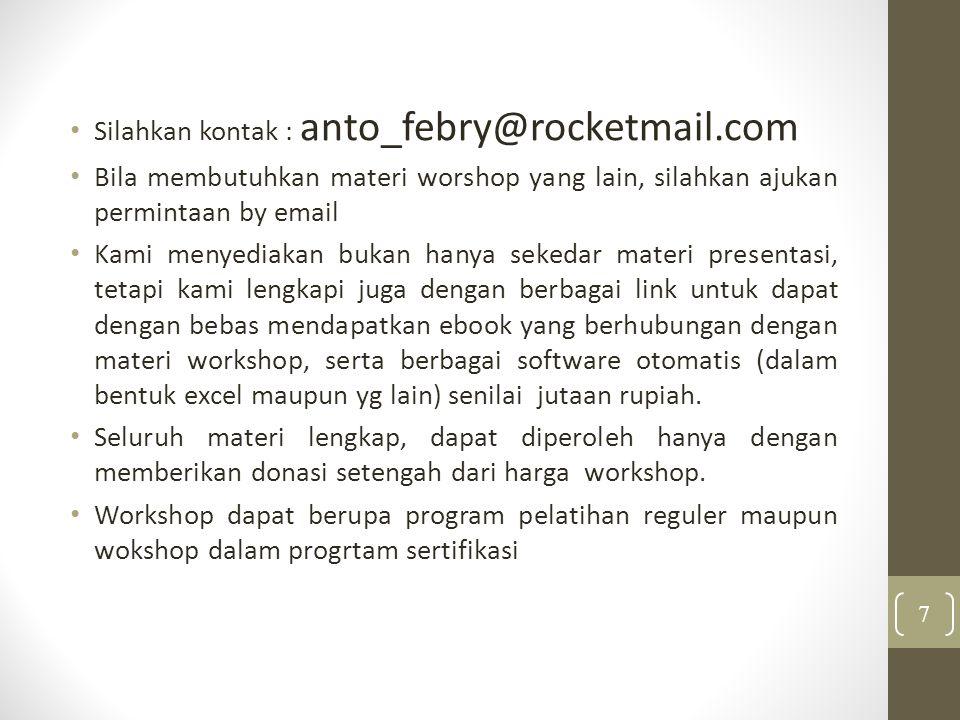 Silahkan kontak : anto_febry@rocketmail.com