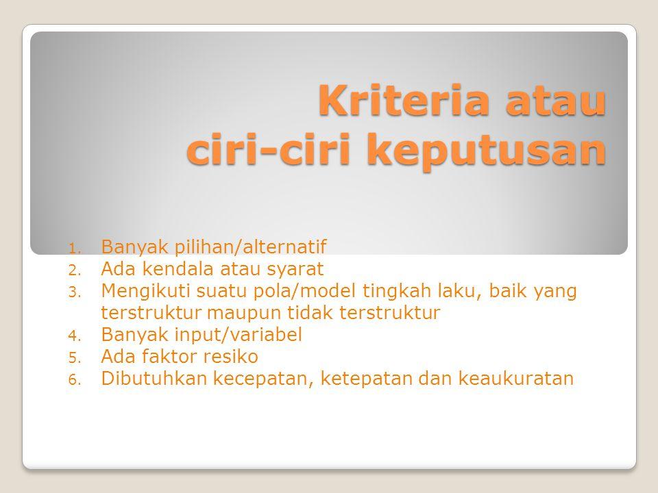 Kriteria atau ciri-ciri keputusan