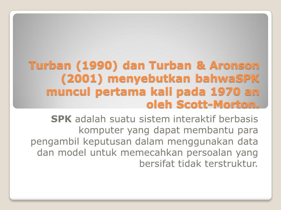 Turban (1990) dan Turban & Aronson (2001) menyebutkan bahwaSPK muncul pertama kali pada 1970 an oleh Scott-Morton.