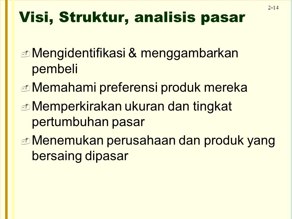 Visi, Struktur, analisis pasar