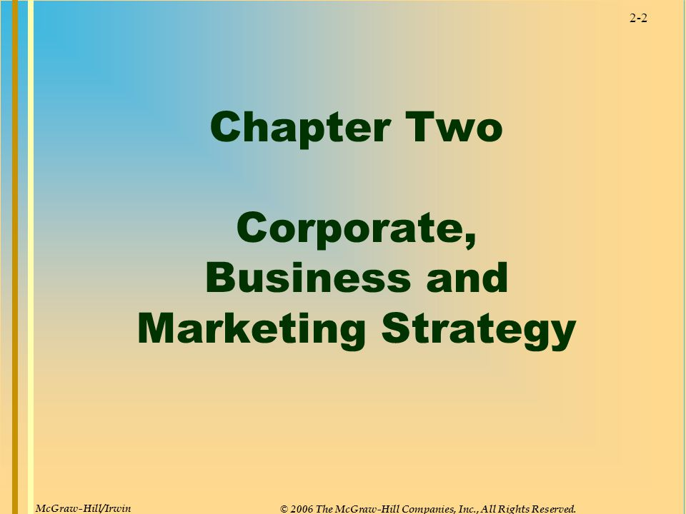 Chapter Two Corporate, Business and Marketing Strategy