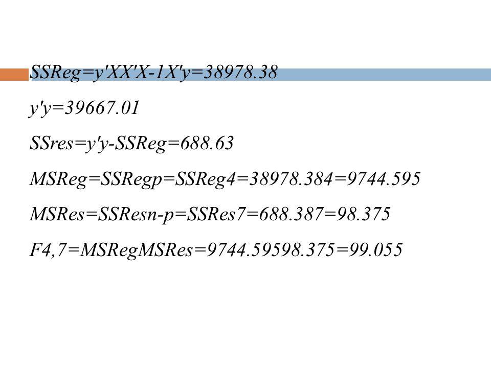 SSReg=y XX X-1X y=38978. 38 y y=39667. 01 SSres=y y-SSReg=688