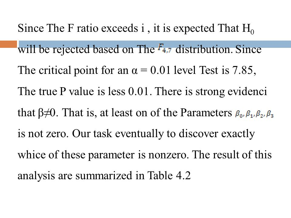 Since The F ratio exceeds i , it is expected That H0 will be rejected based on The distribution.