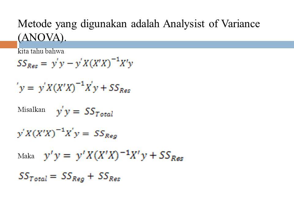 Metode yang digunakan adalah Analysist of Variance (ANOVA).