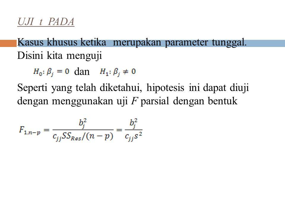 UJI t PADA Kasus khusus ketika merupakan parameter tunggal. Disini kita menguji. dan.