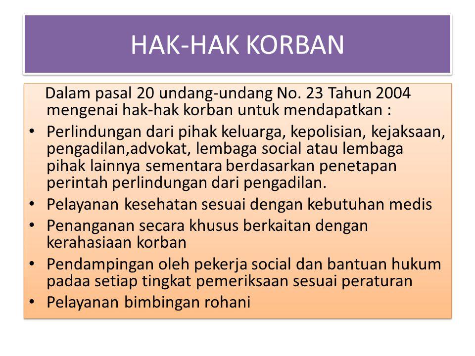 HAK-HAK KORBAN Dalam pasal 20 undang-undang No. 23 Tahun 2004 mengenai hak-hak korban untuk mendapatkan :