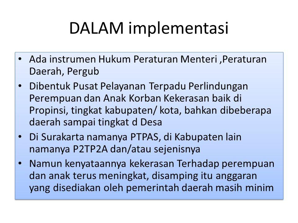DALAM implementasi Ada instrumen Hukum Peraturan Menteri ,Peraturan Daerah, Pergub.