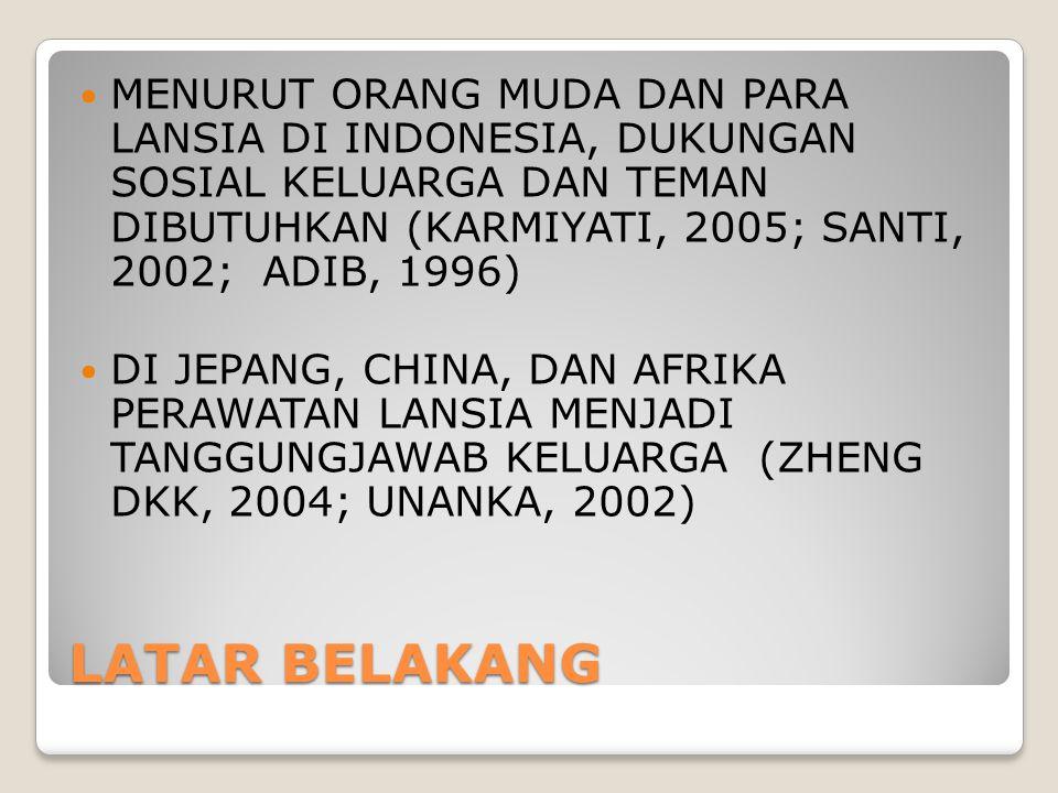 MENURUT ORANG MUDA DAN PARA LANSIA DI INDONESIA, DUKUNGAN SOSIAL KELUARGA DAN TEMAN DIBUTUHKAN (KARMIYATI, 2005; SANTI, 2002; ADIB, 1996)