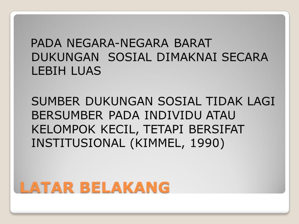 PADA NEGARA-NEGARA BARAT DUKUNGAN SOSIAL DIMAKNAI SECARA LEBIH LUAS SUMBER DUKUNGAN SOSIAL TIDAK LAGI BERSUMBER PADA INDIVIDU ATAU KELOMPOK KECIL, TETAPI BERSIFAT INSTITUSIONAL (KIMMEL, 1990)