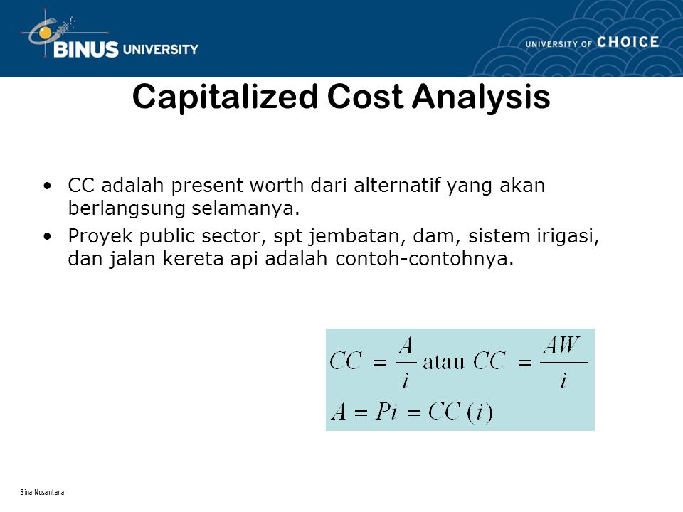 Capitalized Cost Analysis