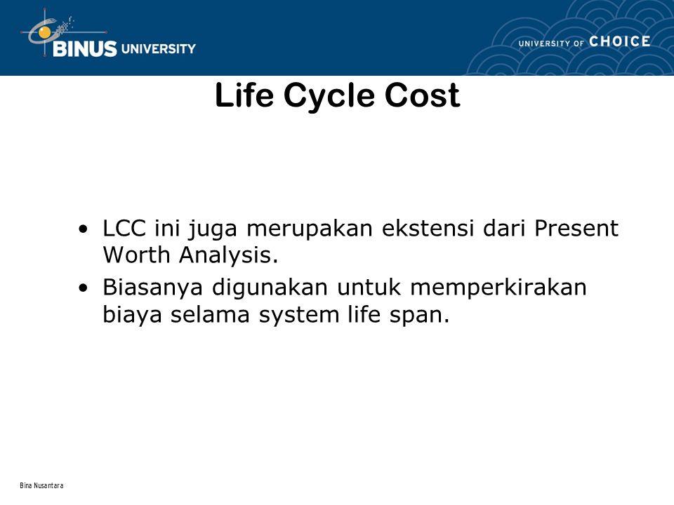 Life Cycle Cost LCC ini juga merupakan ekstensi dari Present Worth Analysis. Biasanya digunakan untuk memperkirakan biaya selama system life span.