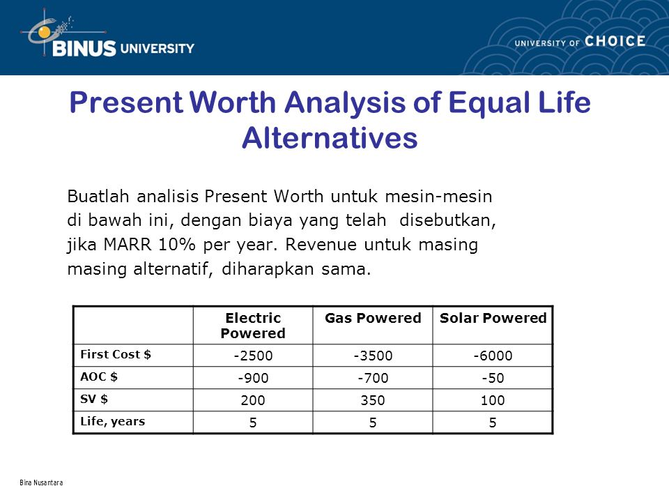 Present Worth Analysis of Equal Life Alternatives