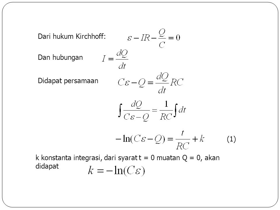 Dari hukum Kirchhoff: Dan hubungan. Didapat persamaan.