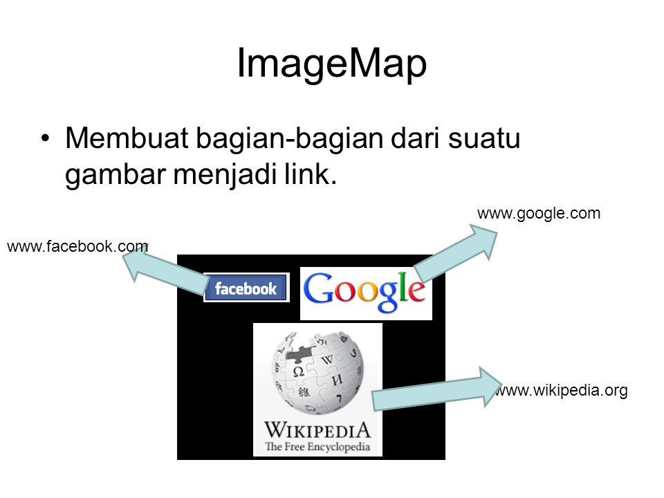 ImageMap Membuat bagian-bagian dari suatu gambar menjadi link.