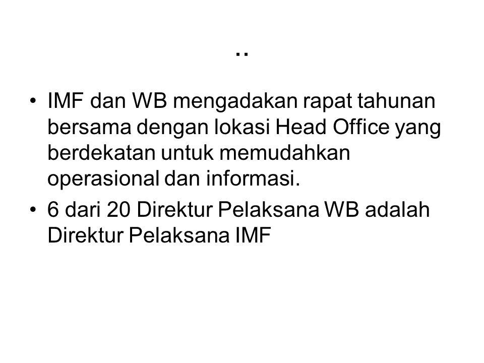 .. IMF dan WB mengadakan rapat tahunan bersama dengan lokasi Head Office yang berdekatan untuk memudahkan operasional dan informasi.