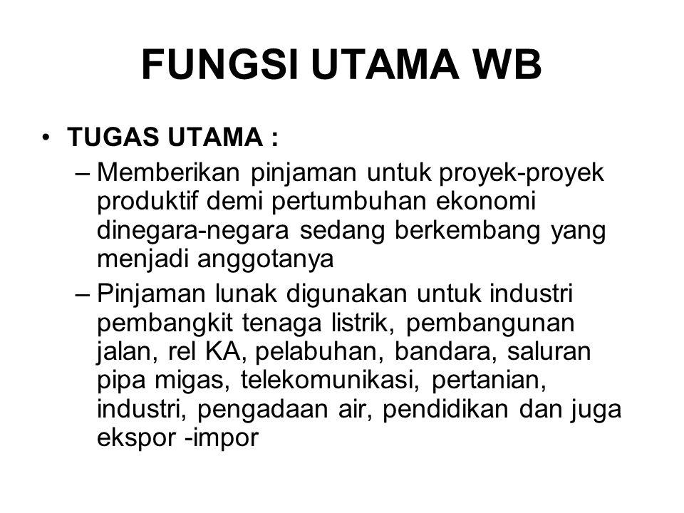 FUNGSI UTAMA WB TUGAS UTAMA :