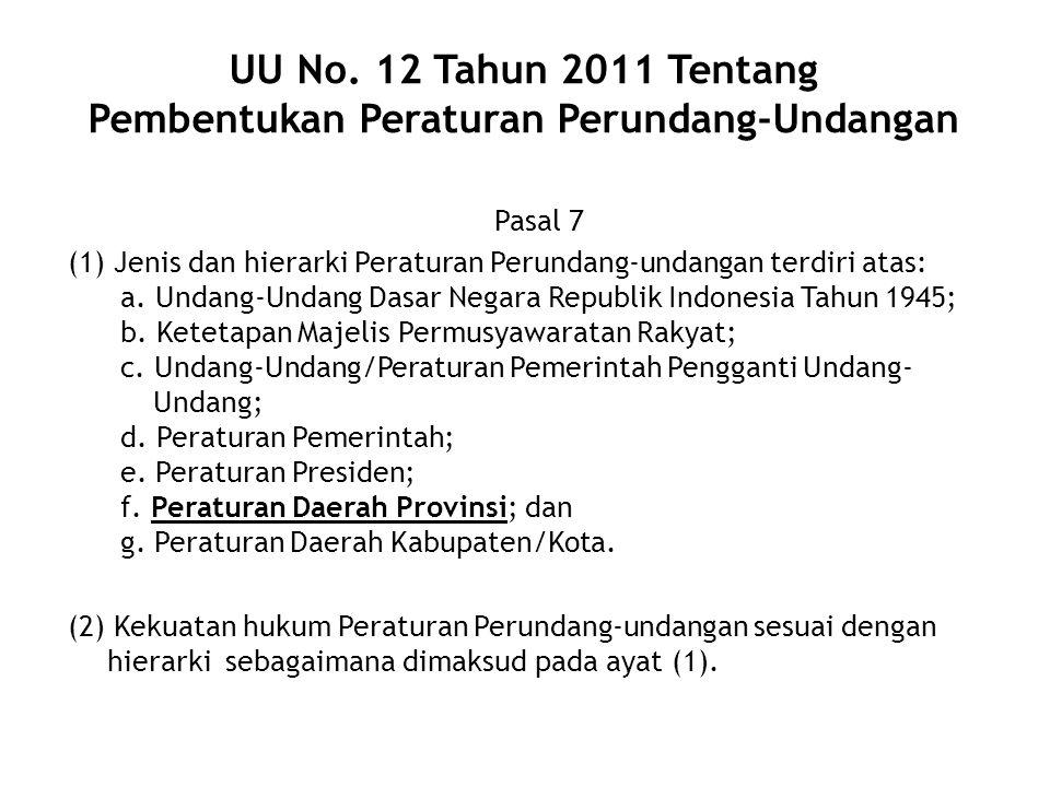 UU No. 12 Tahun 2011 Tentang Pembentukan Peraturan Perundang-Undangan