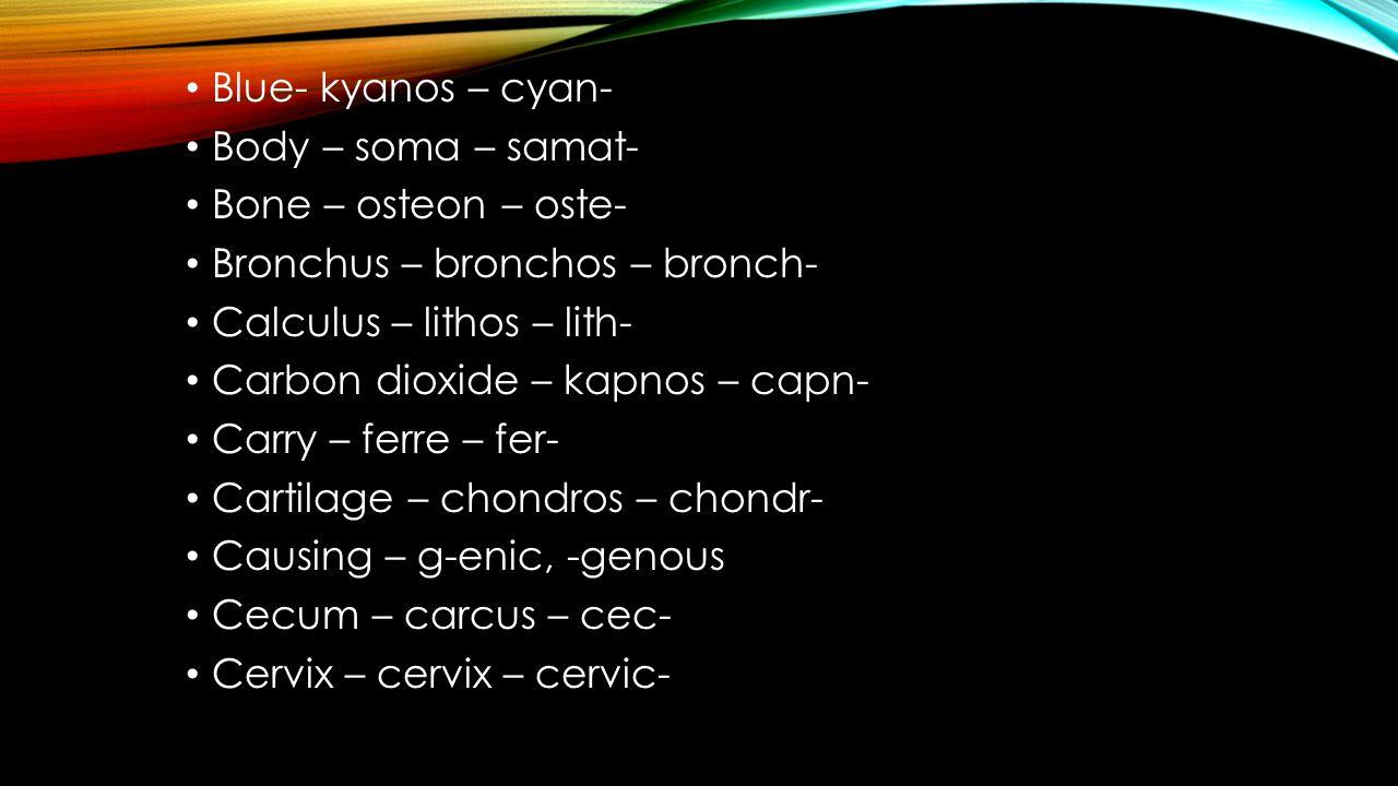 Blue- kyanos – cyan- Body – soma – samat- Bone – osteon – oste- Bronchus – bronchos – bronch- Calculus – lithos – lith-