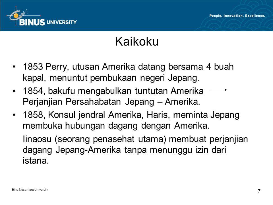 Kaikoku 1853 Perry, utusan Amerika datang bersama 4 buah kapal, menuntut pembukaan negeri Jepang.