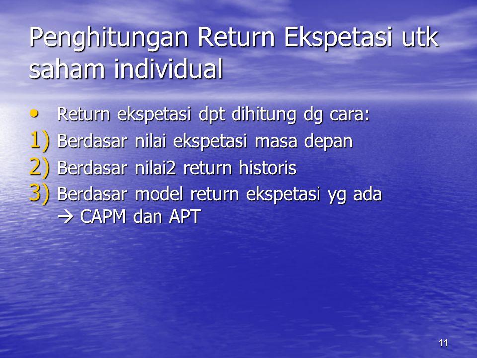 Penghitungan Return Ekspetasi utk saham individual
