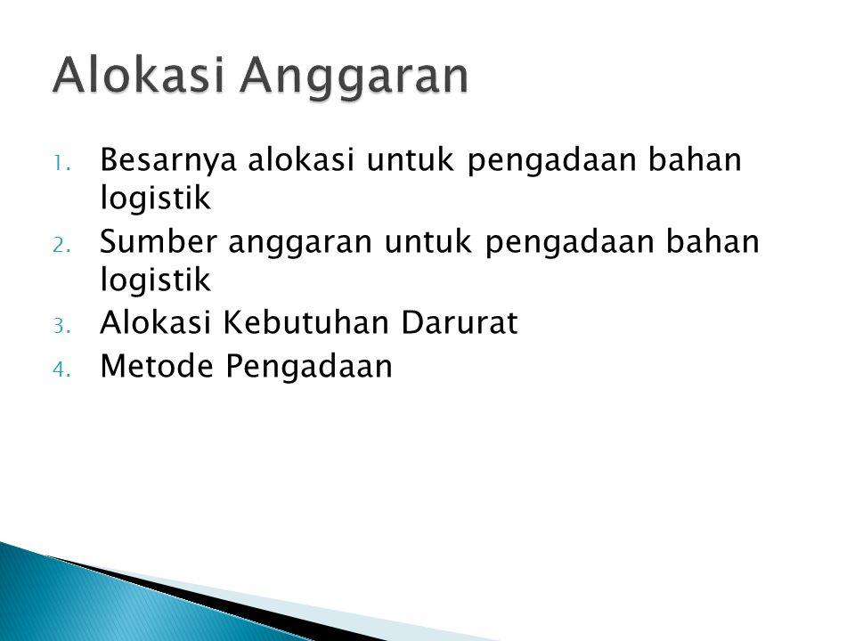 Alokasi Anggaran Besarnya alokasi untuk pengadaan bahan logistik