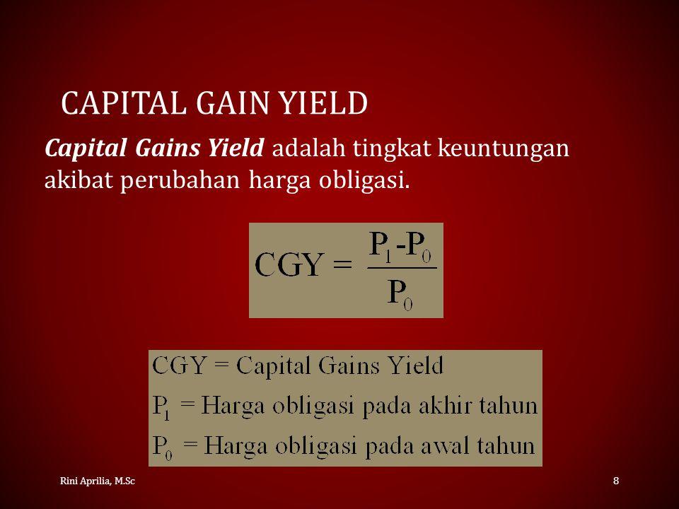Capital Gain Yield Capital Gains Yield adalah tingkat keuntungan akibat perubahan harga obligasi.