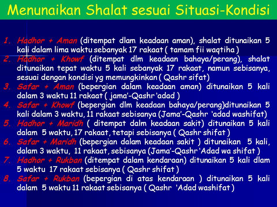 Menunaikan Shalat sesuai Situasi-Kondisi