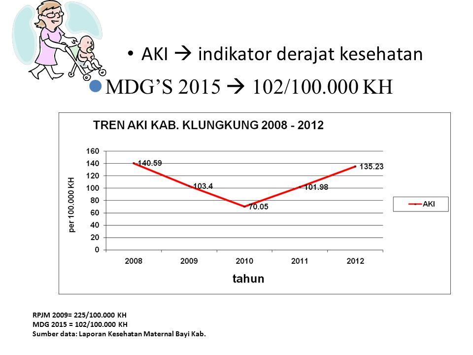 MDG'S 2015  102/100.000 KH AKI  indikator derajat kesehatan AKI