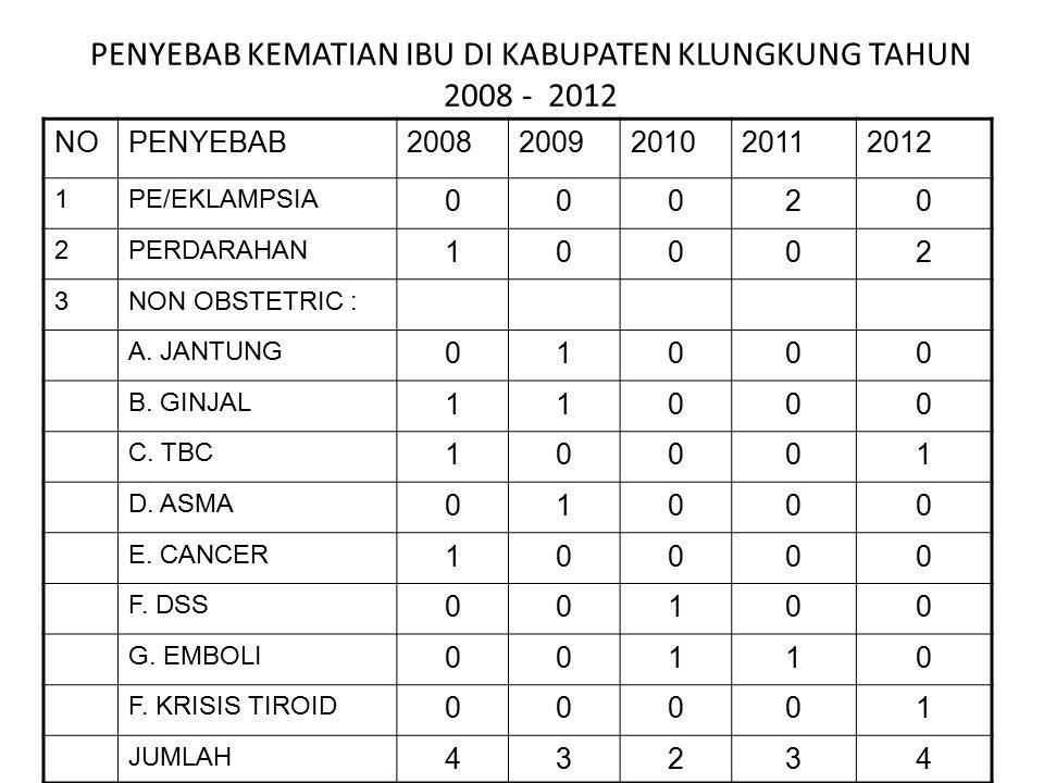 PENYEBAB KEMATIAN IBU DI KABUPATEN KLUNGKUNG TAHUN 2008 - 2012