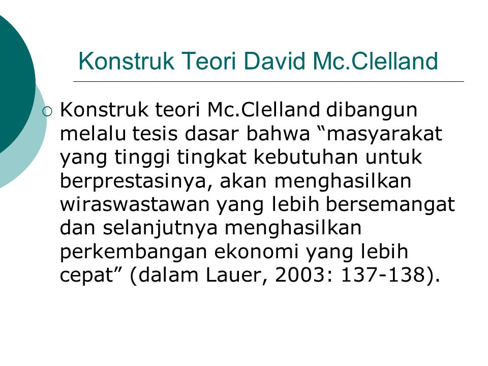 Konstruk Teori David Mc.Clelland