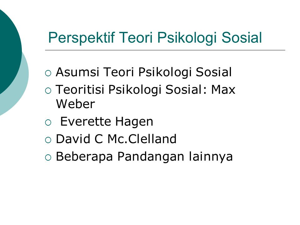 Perspektif Teori Psikologi Sosial