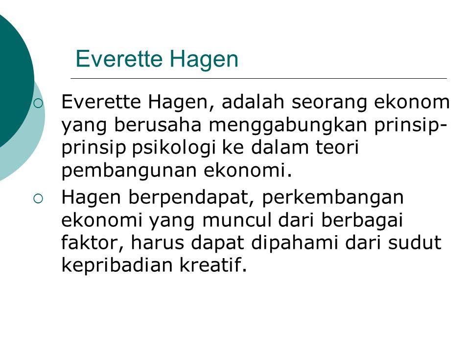 Everette Hagen Everette Hagen, adalah seorang ekonom yang berusaha menggabungkan prinsip-prinsip psikologi ke dalam teori pembangunan ekonomi.