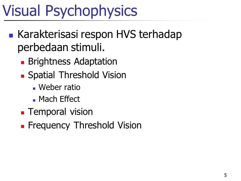 Visual Psychophysics Karakterisasi respon HVS terhadap perbedaan stimuli. Brightness Adaptation. Spatial Threshold Vision.