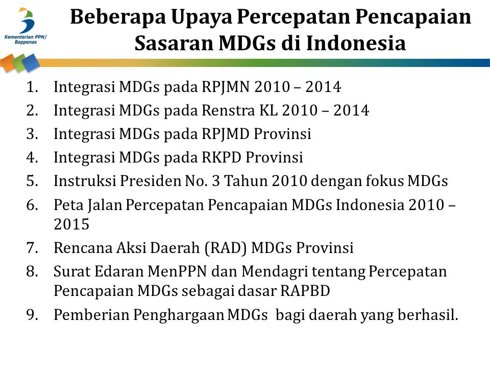 Beberapa Upaya Percepatan Pencapaian Sasaran MDGs di Indonesia