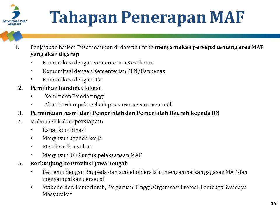 Tahapan Penerapan MAF Penjajakan baik di Pusat maupun di daerah untuk menyamakan persepsi tentang area MAF yang akan digarap.