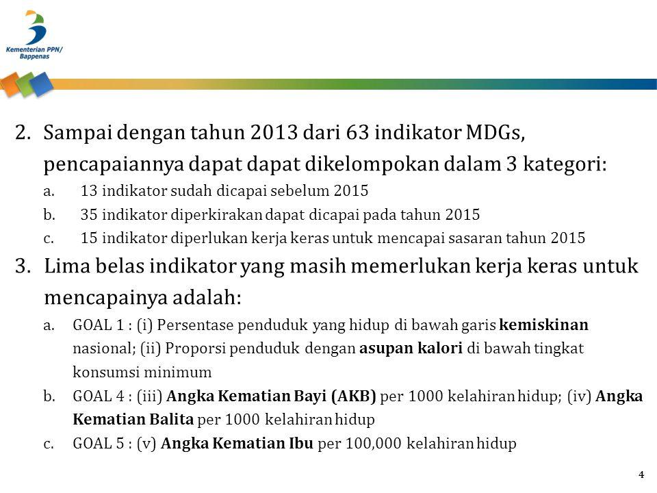 Sampai dengan tahun 2013 dari 63 indikator MDGs, pencapaiannya dapat dapat dikelompokan dalam 3 kategori: