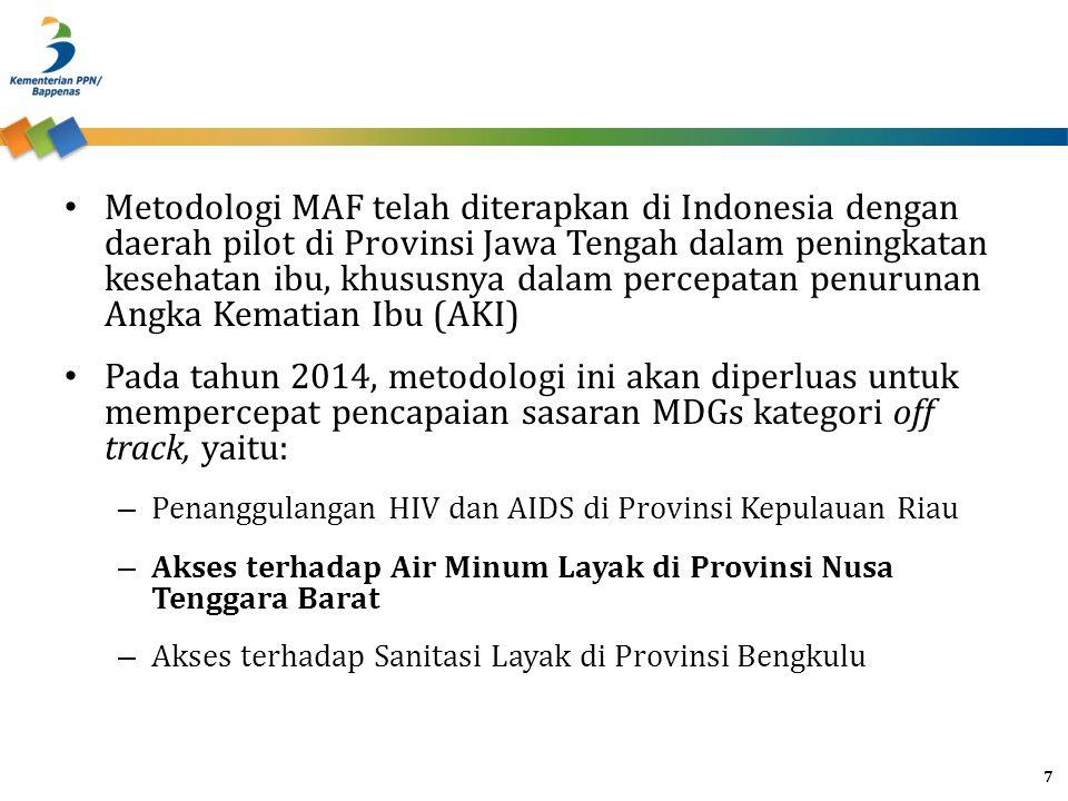 Metodologi MAF telah diterapkan di Indonesia dengan daerah pilot di Provinsi Jawa Tengah dalam peningkatan kesehatan ibu, khususnya dalam percepatan penurunan Angka Kematian Ibu (AKI)