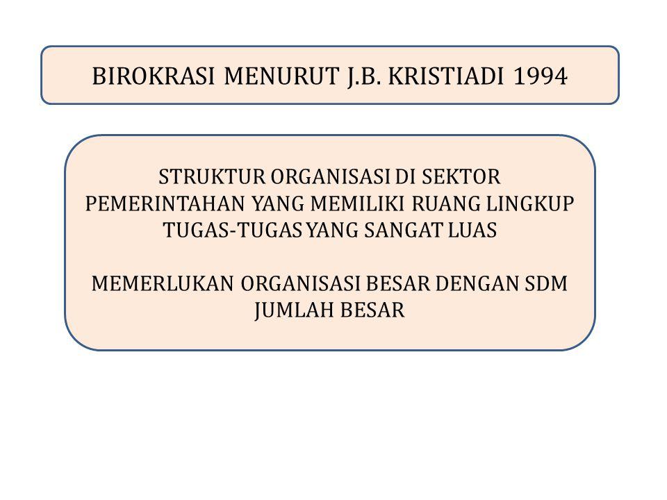 BIROKRASI MENURUT J.B. KRISTIADI 1994
