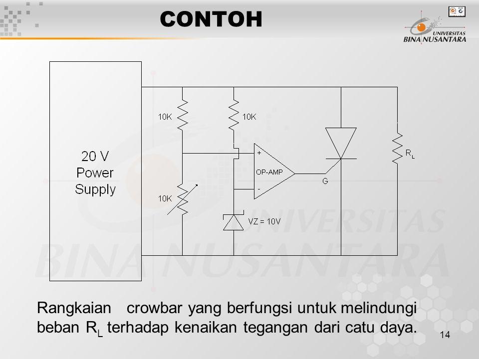 CONTOH Rangkaian crowbar yang berfungsi untuk melindungi beban RL terhadap kenaikan tegangan dari catu daya.