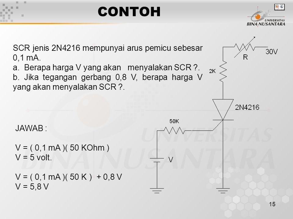 CONTOH SCR jenis 2N4216 mempunyai arus pemicu sebesar 0,1 mA.